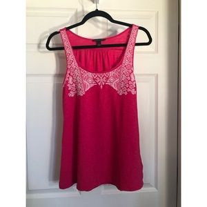 Banana Republic Fushia Embroidered Tank Top